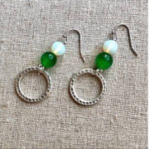 White and Green Cat Eye dangle earrings